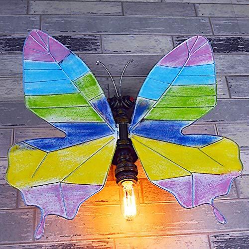 SJNSJN Wohnzimmer Kreative Vintage Wandleuchte Dekoidee Handgefertigt Schmetterling E27 Halter Innen Art Deco Industrie Retro für Bar, Schlafzimmer, Küche, Restaurant, Café, Flur