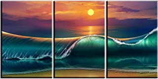Ocean Wave Wall Art Decor for Living Room, PIY HD Sunset Sea Picture, Oil Painting Print on Canvas (3 Piece 1
