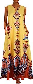Damen Vintage Kleid,Damen Casual Kleider Plus Size Bohemian Kleider Damen Ärmellos V-Ausschnitt Maxi Kleider