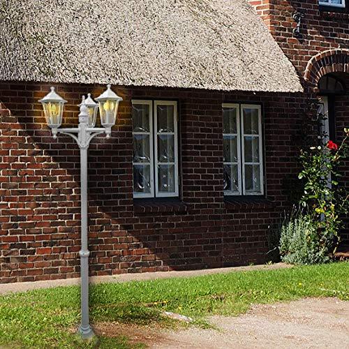 Außen-Garten-Steh-Wege-Leuchte-Lampe KINGSTON XXL 3 flg. weiß IP44 Aluminium Druckguss Wege-Straßen-Laterne-Leuchte-Lampe