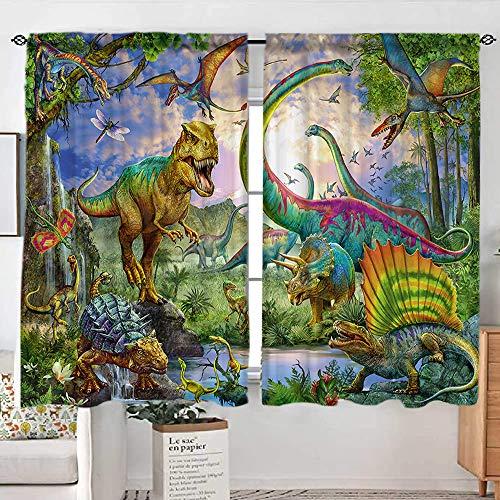 Sevendec Cortinas de dinosaurio para habitación de niños, diseño de animales antiguos, paneles de ventana para decoración para recámara con barra de bolsillo 2 paneles