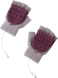 kelebin USB Heated Gloves for Women Men Mitten Winter Warm Laptop Gloves Full and Halfs Hands Heated Fingerless Heating Kn...