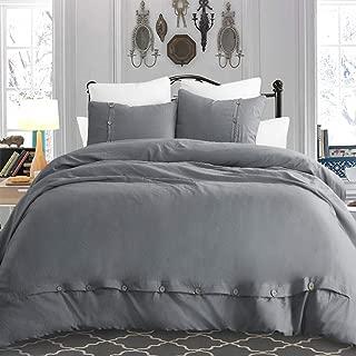"""Cysincos Grey Duvet Cover Set Queen, 3 Pcs Set - Durable Microfiber Button Duvet Cover 90"""" x 90"""", Two Pillowcase 20"""" x 26"""" -Morden Simple Style Bedding Quilt Cover"""
