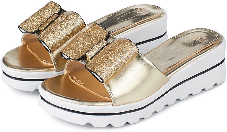Fimuy Women's Bowknot Leather Slide Sandles Platform Summer Sandals