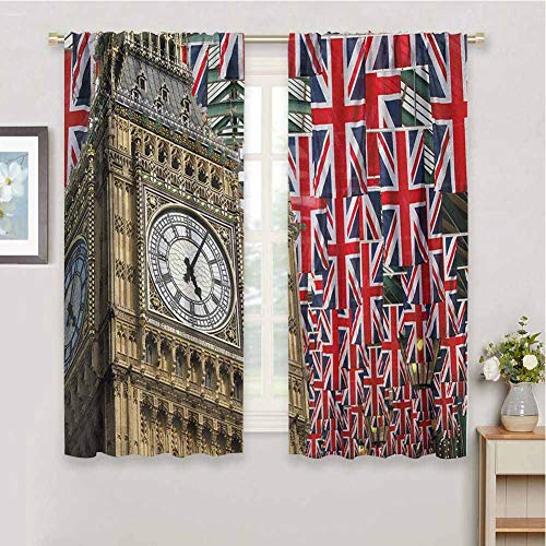 DIMICA Soundproof Curtains for Bedroom Union Jack UK Flags Background with Big Ben Festive Celebrations Loyalty Print Living Room Decor Blackout Shades W63 x L63 Inch Pale Coffee Navy Blue Red