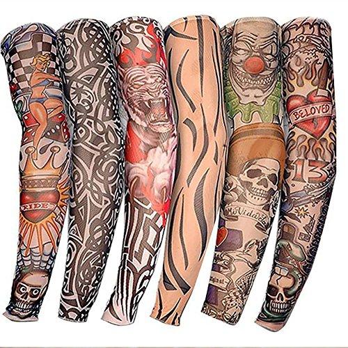 6PCS UV falsche Tattoo Arm halbe Ärmel Outdoor Handschuh-Tattoo Ärmel Neuheit Rock temporäre Tattoo Arm halbe Ärmel 38cm