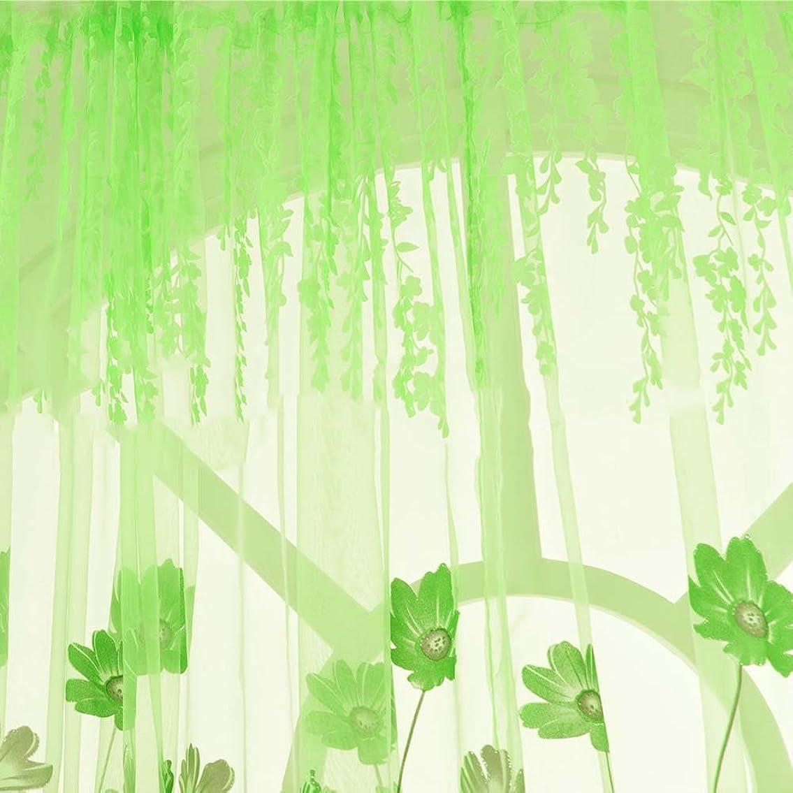 ひねりスポンジ極めて重要なQIAONAI レースカーテン 薄手 チュール カーテン 花柄  目隠し断熱 半遮光 遮像 光を通す ホーム用品 リビング/トイレ/子供部屋/ワンルームなど間仕切り 雰囲気転換 賃貸屋 幅100x200cm  (グリーン(ゲサンの花))