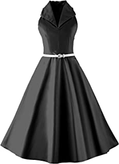 Vintage 50s 60s Audrey Hepburn Sleeveless V-Neck Prom Party Swing Dress