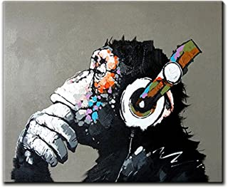 V-inspire Art, 20X24Inch 100% Hand Painted Paintings Listen to Music Gorilla Abstract Art Large Wall Art for Living Room Artwork on Canvas Ready to Hang Framed Art for Bedroom Living Room