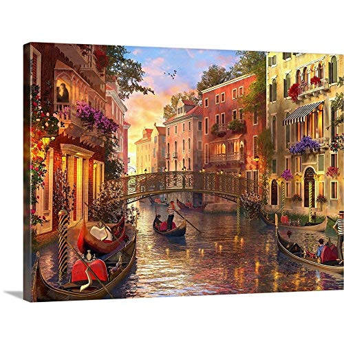 "GREATBIGCANVAS Sunset in Venice Canvas Wall Art Print, 48""x36""x1.5"""