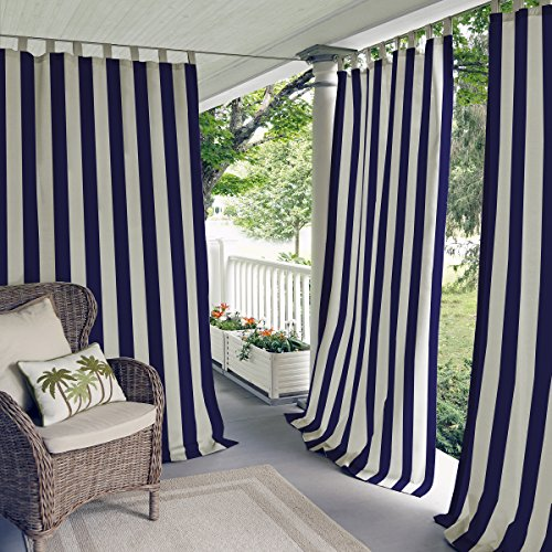 Highland Stripe Indoor/Outdoor Window Curtain for Patio, Porch, Cabana - 50 x 108 - Navy - Elrene Home Fashions