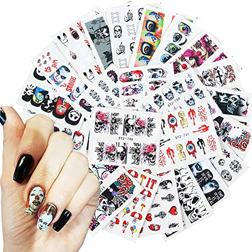 25 Sheets Nail Art Stickers Decals Water Transfer Supplies Halloween The Day of Dead Nail Arts Decorations Kits Bloody Skull Vampire Bite Black White Designs Manicure DIY Tips Toe Nail Accessories