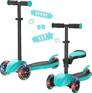 Macwheel Patinete de 2/3 Ruedas Scooter, con Led Luces Manillar Altura Ajustable con Freno Posterior/Convertible 2 en 1 Equilibrio de Manejo, Triciclo y Bicicleta Niños