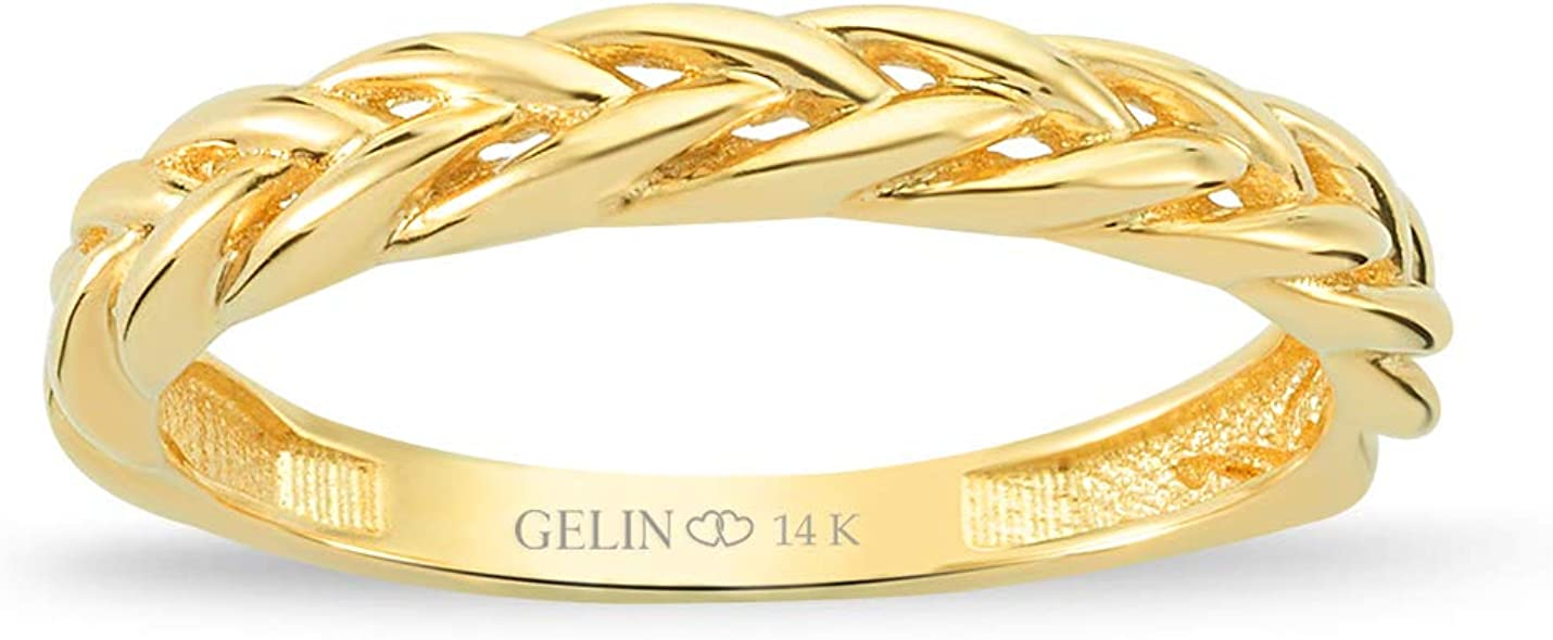 GELIN Rope Pattern Stacking Ring in 14k Solid Gold | Cute Rings for Women | Simple Finger Jewelry for Mom - Size 7