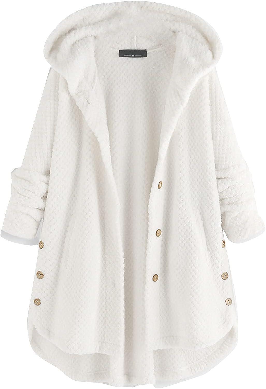 Oversized Womens Button Down Hooded Coats Baggy Irregular Hem Long Sleeves Knitwear Warm Overcoat Hoodie Jackets