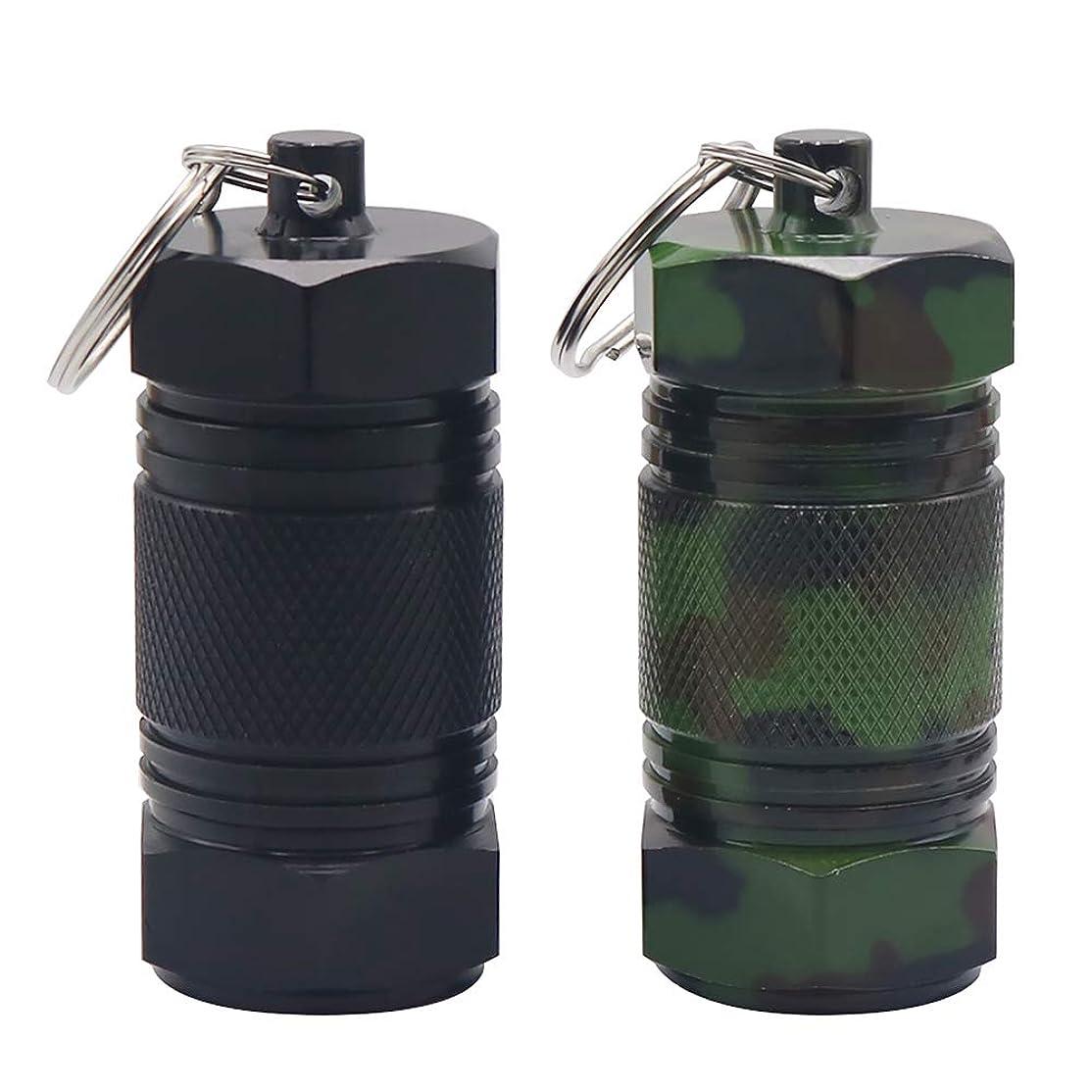 ふさわしい初期太字Tenn Well ピルケース, 2個入り アルミ合金製 防水 薬ケース アウトドア 携帯灰皿として