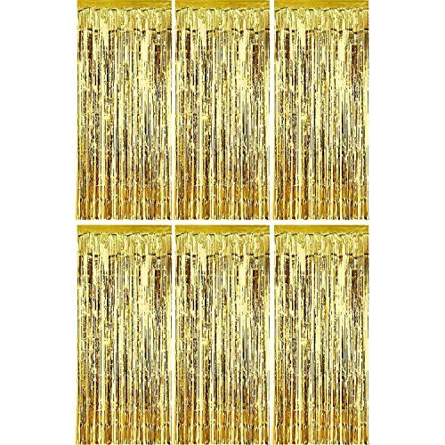 Sumind 6 Pack Foil Curtains Backdrop Fringe Tinsel Metallic Curtains Photo Backdrop for Wedding Birthday Party Stage Decor (Gold)