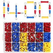 1400pcs Electrical Wire Connectors Assorted Insulated Crimp Terminal Kit by ULIFEME, Spade, Ring, Lug & Butt Pack Crimp Connectors, Blue, Yellow & Red Connectors Set with One Transparent Case