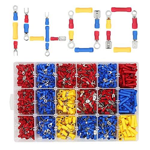 Kabelschuhe Set, ULIFEME 1400pcs Isolierte Flachstecker Sortiment, Ringkabelschuh, Gabelschuhe, Quetschverbinder, Flachsteckhülsen und Steckverbinder für Kabel, Rot, Blau & Gelb Kabelschuh Stecker
