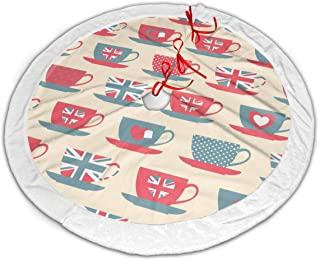 FriendEver British Flag Love Cup Christmas Tree Skirt Plush Border for Christmas Decorations, Holiday Decorations, Indoor and Outdoor Home Decor Gifts (36 Inches)