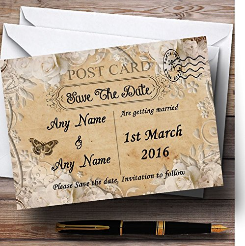 Bewaar de datumkaarten witte roos vintage shabby chic ansichtkaart gepersonaliseerd met enveloppen - elke aangepaste tekst voor elke gelegenheid 150 Cards & Envelopes Kleur: wit