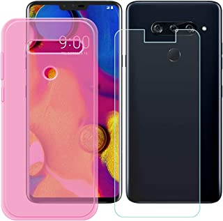 YZKJ Fodral för LG V40 ThinQ Cover rosa mjukt silikon skyddsfodral TPU skal fodral pansarglas skärmskydd för LG V40 ThinQ...