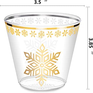 Gold Plastic Cups - 9 Oz - 25 Small Clear Plastic Cups with 4 LED Ice Cubes - Gold Rimmed Cups Fancy Disposable Wedding Cups - Christmas Holiday Party Cups with Gold Rim (25, Plastic)