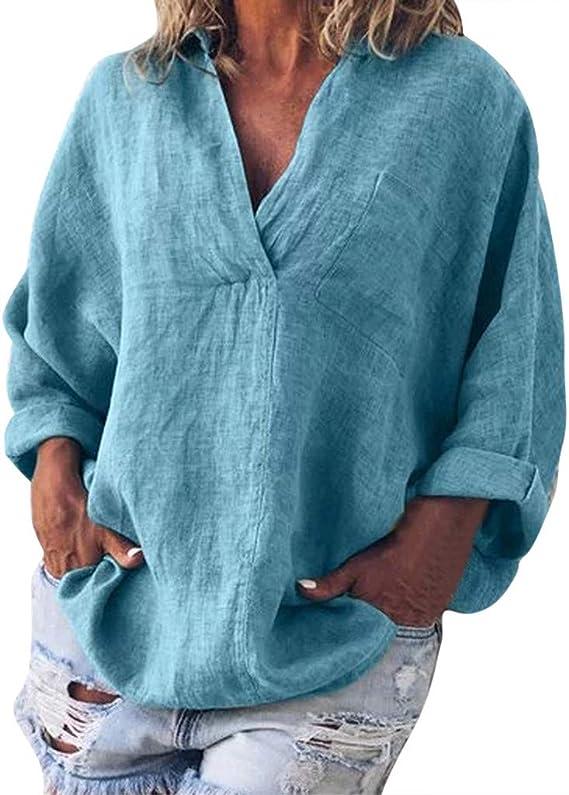 Camisa de Lino Suelto para Mujer Tallas Grandes, Blusa Casual V Cuello Camiseta manag Larga Mujeres Verano Basica Camiseta Tops