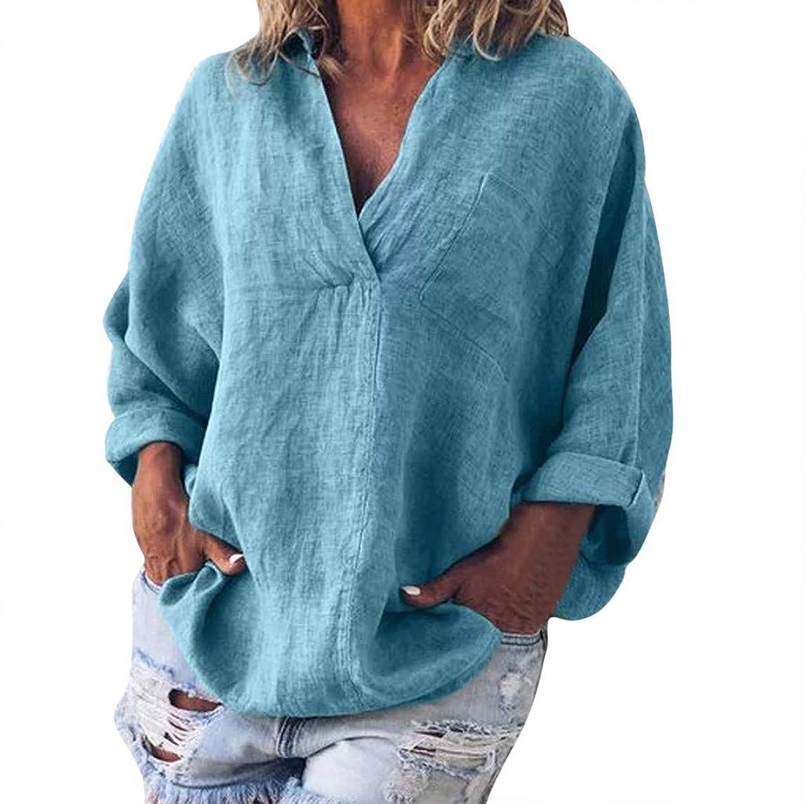 Plus Size Linen T-Shirt Women Fashion Solid Casual V-Neck Long Sleeve Blouse