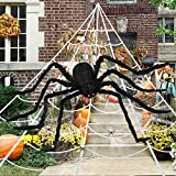 Halloween Decorations Outdoor, 200' Spider Web, 60' Giant Spider, with Extra Stretch Cobwebs and 10 Small Plastic Spiders, Halloween Outdoor Scary Decorations Yard Home Outside Parties House Décor