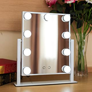 Makeup Mirror with Lights, Rectangle HD Vanity Mirror with 360° Rotating Stand Touch Switch Desktop Beauty Cosmetic Mirror...