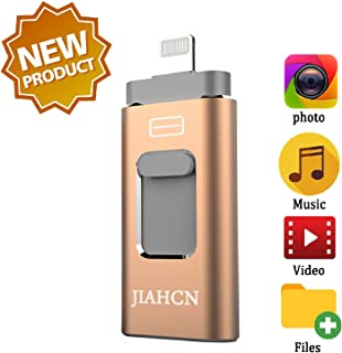 JIAHCN USB Flash Drive for iPhone 256GB iFlash USB Drive for iPhone The Photo Stick for iPhone iPad PC Android Password Touch ID Protected External Storage Drive for iPhone Memory Stick Storage 256GB