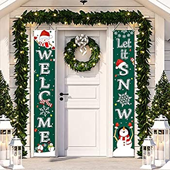 Christmas Decoration Set Christmas Porch Sign Welcome Merry Christmas Banner Christmas Hanging Garland for Frozen Winter Wonderland Party Decoration Xmas Winter Snow Party  Deep Green