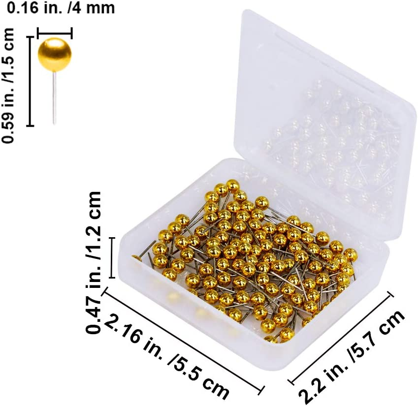 600 Pieces Multi-Color Push Pins Map Tacks,1//8 Inch Round Head with Stainless Point in Reconfigurable Container for Bulletin Board 600-Count Metallic Color Fabric Marking Map Pins