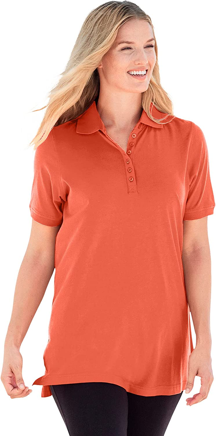 Woman Within Women's Plus Size Perfect Short-Sleeve Polo Shirt