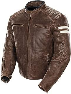KAAZEE Men's Vintage Café Racer Distressed Brown Strips Motorcycle Leather Jacket