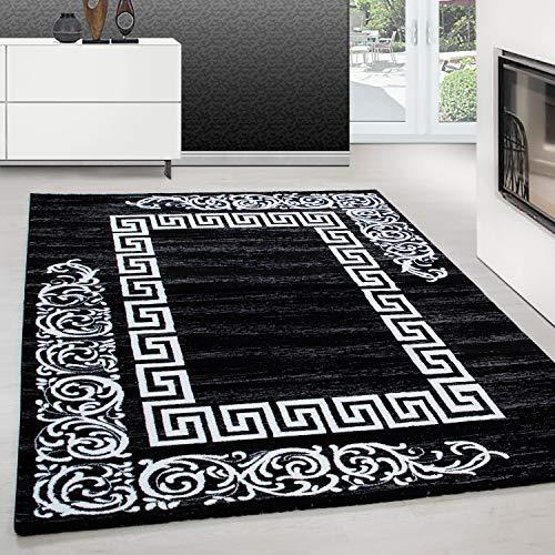 Teppich modern Design Teppich Rechteck Versace Muster mit Barock Schwarz, Maße:160 cm x 230 cm