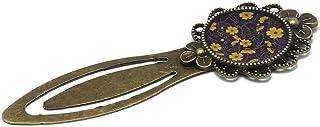 Segnalibri retro libro fiori giallo viola nero marrone resina bronzo 20mm regalo personalizzato natale anniversario matrim...
