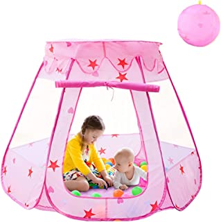 Agole Kids Tent Pink Princess Teepee Ball Pit Toddler Tent Girl Easy Pop Up Fold into a Carrying Case for Indoor Outdoor Portable Childrens Play Tents