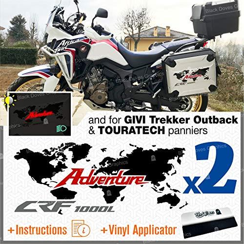 Kit Stickers for Honda CRF 1000 L Africa Twin 2016 Adventure ADESIVI for Original panniers Touratech GIVI Trekker Outback 37L 48L AUTOCOLLANT AUFKLEBER Decals VINIL Black Doves Graphics (Black/Red)