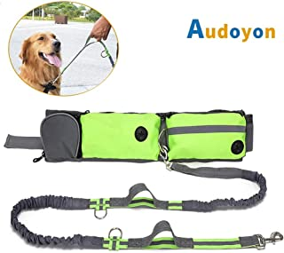 Audoyon Hands Free Dog Leash, Shock Absorbing Bungee Leash with Treat pouch, Pocket and Bottle Holder for Running,Walking,Training and Hiking,for Small to Large Dogs,Adjustable Waist Belt,Dual Handle