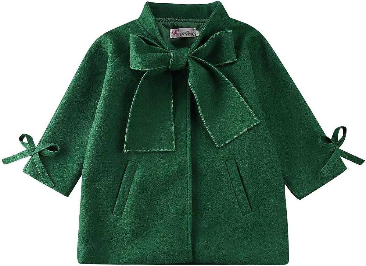 Toddler Kids Bowknot Overcoat Winter Charm Windbreaker Jacket Outerwear Girls Trench Coat