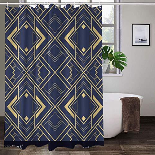 Cortina de ducha de tela con 12 ganchos, diseño abstracto de azulejos geométricos, azul, 183 x 183 cm