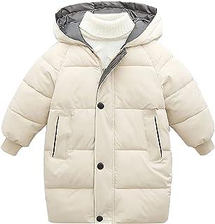 Ommda Chłopiec dziewczęta długi puszysty wyściełany płaszcz z kapturem zima odzież wierzchnia kurtka dziecięca
