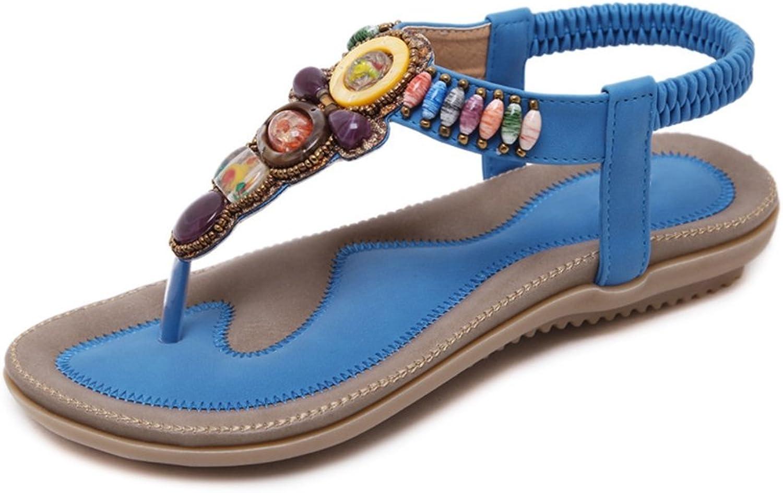 T-JULY Womens Ladies Bohemian Bling Rhinestone Flat Flip Flops Gemstones Retro Dressy Sandals Summer Slip On Slippers