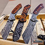 Buckshot Knives Cleaver Combo 3 PC Black Set 8.75' Damascus Fixed Blade Cleaver Knife + 8' Assisted Open Tattoo Pattern Folding Knife + Buckshot Damascus Etched Folding Cleaver Hunting Camping Gear