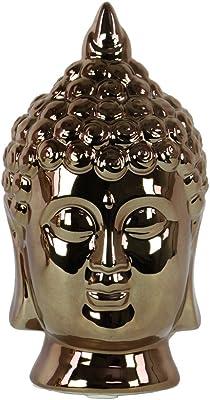 "Urban Trends Urban Trends Porcelain Buddha Head with Pointed Ushnisha Polished Chrome Finish Gold, Gold, 14854, Gold, 6"" L x 5.5"" W x 10.25"" H"