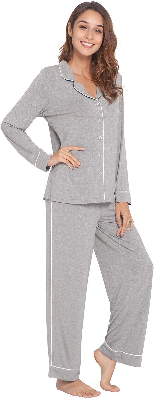 LazyCozy Women's Long Charlotte Mall Sleeve Lowest price challenge Sleepwear Pajamas Bamboo Set