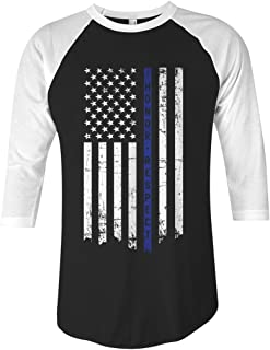 Threadrock Honor & Respect Thin Blue Line Flag Unisex Raglan T-Shirt