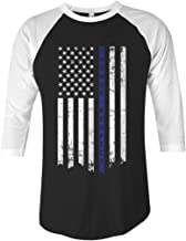 Threadrock Honor & Respect Thin Blue Line Flag Unisex Raglan T-Shirt